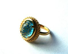 Blue Zircon Adjustable Ring with Vintage Glass Cabochon with Egyptian Scarab Design