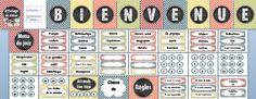 Cet ensemble d'affichage de 35 pages vous permettra de décorer votre classe pour la rentrée scolaire. Il comprend: - 1 page titre - 1 page de crédits - 1 banderole BIENVENUE - 1 affiche Classe de - 1 affiche Règles - 1 affiche Menu du jours - 1 affiche Les étoiles de la semaine - des numéros pour les élèves (1 à 30) - des étiquettes pour les noms - des petites affiches pour les matières - 1 affiche Attends ton tour $