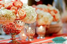 #Coral #Wedding #Florals Angela Wilson Photography: Christ the King Ceremony + Greystone at Piedmont Park Wedding Reception