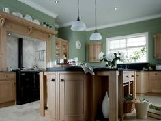 kitchen paint color ideas green paint brown cabinets and inverted . Dark Oak Cabinets, Oak Kitchen Cabinets, Maple Cabinets, Wooden Cabinets, Hickory Cabinets, Inframe Kitchen, Kitchen Units, Country Kitchen, Kitchen Ideas