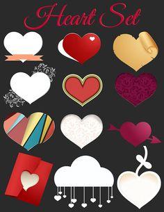 HEART CLIPART,  Valentine Clip Art 47 Item Set, Red Hearts Graphic Design Elements, Scrapbook, Scrapbooking, Printable Craft Supply