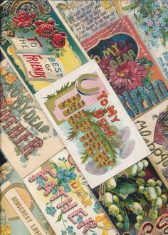 ~Lot of 16 Family Greetings, To Dear Large Words Antique Postcards-a-751…