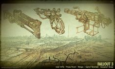 Fallout 3 weapons concept art