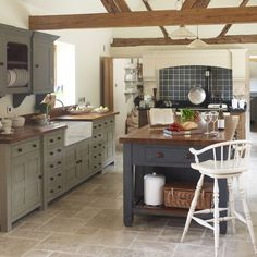 One day my kitchen will be like this Aga Kitchen, Country Kitchen, Kitchen Dining, Kitchen Decor, Wooden Kitchen, Kitchen Colors, Kitchen Island, Design Room, Home Design