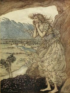 'Sweet Echo.' Illustration (1921) by Arthur Rackham (1867-1939) from 'Comus' by John Milton (1608-1674). Published by W. Heinemann. Robarts - University of Torontoarchive.org
