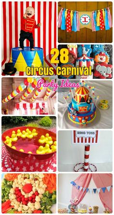 28 Circus Carnival Themed Birthday Party Ideas for Kids. Circus theme party decoration, DIY vintage style circus party with circus outfits and games and Party food ideas with Circus theme. Carnival Birthday Cakes, Circus Carnival Party, Kids Carnival, Circus Theme Party, Themed Birthday Cakes, 3rd Birthday Parties, Birthday Ideas, Birthday Themes For Kids, Circus Theme Crafts