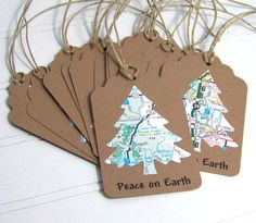 Ecofriendly Christmas Gift Tags Peace on Earth by NobleEarth... might make this with my Silhouette Cameo: