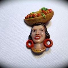 Carmen Miranda Plastic Molded Pin 1940s