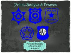Police Badges and Frames in .SVG .EPS .DXF & .Studio3 formats Craft Cut Die Cutters Digital Vector Files Instant Download by TheSVGFontStore on Etsy