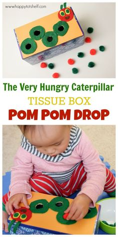 The Very Hungry Caterpillar theme pom pom drop made from a tissue box. Great fine motor activity for toddlers - Happy Tot Shelf The Very Hungry Caterpillar theme pom pom drop made from a tissue box. Great fine motor activity for toddlers - Happy Tot Shelf Bug Activities, Toddler Learning Activities, Spring Activities, Infant Activities, Fun Learning, Sequencing Activities, Colour Activities For Toddlers, Toddler Fun, Toddler Preschool
