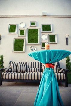 Framed astro turf display on wall behind fruit machines (next to double doors through to the main room) Flower Wall Backdrop, Wall Backdrops, Backdrop Wedding, Cozy Basement, Faux Grass, Astro Turf, Small Backyard Patio, Artificial Turf, Wall Design