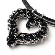 Black heart full Persian chain mail pendant on black ribbon necklace $30.00 by…