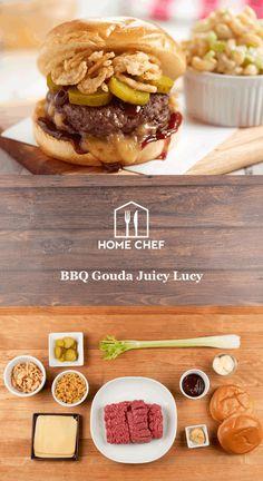 BBQ Gouda Juicy Lucy with crispy onions and macaroni salad