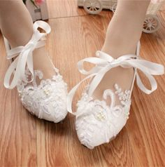 38.00$  Buy now - http://viuvg.justgood.pw/vig/item.php?t=04w4gd13913 - White Bridal Ballet Flats with Lace-up Ribbons/Wedding Ribbon Lace Up Shoes