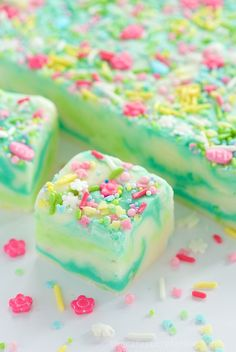"""Lemon and White Chocolate Spring Fantasy Fudge - the most fun, whimsical fudge to celebrate any special occasion. This one seem to shout """"spring""""!"""