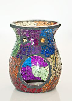 Rainbow Mosaic Oil Burner Oil Warmer, Oil Burners, Mosaic Ideas, Smell Good, Rainbow, Vase, Candles, Home Decor, Rain Bow
