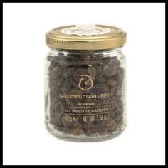 Wild Mountain Capers in Sea Salt.  These small, green herb buds lend a sour, salty savor to salads, dressing, sauces and vegetable dishes. - $12.00 (3.5 oz)