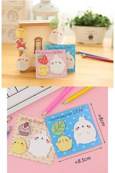 Molang & friends Cute Planner Sticky notes planner, Kawaii Memo Pad Kids Stationary, Cute Sticky note pad, Post it notes, Cute Stationery Notepads planner note Kawaii Stickers note pads kawaii stationary