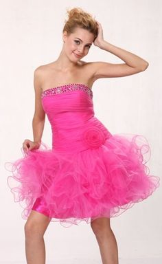 de9e858c0ba48 Hot Pink Tu Tu Prom Dress Short Poofy Strapless Cocktail Tulle Skirt $99.99  Mini Prom Dresses