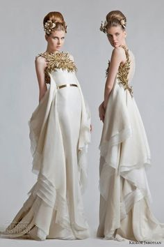 Themed wedding gown. This dress is so unique   krikor jabotian bridal fall 2013. has a roman look. love the gilded leaves trimming the bodice.
