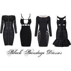 """Black Bandage Dresses"" by ebonyvintage-nahoot on Polyvore"