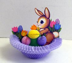 Easter Honeycomb Paper Foldout  Bunny and Easter Eggs by allunique, $8.00