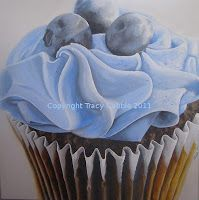 Blueberry Cupcake painting 500mmx500mm Limited Edition prints available for Christmas gifts