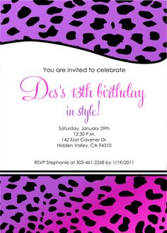13th Birthday Party Invitation Templates Free Invitations Wording Cards 13