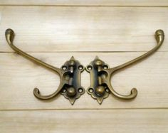 Lot of 2 pcs Vintage HOOK Brass Classic 2 Hangers FOLDING Antique Wall Coat Hat Hooks