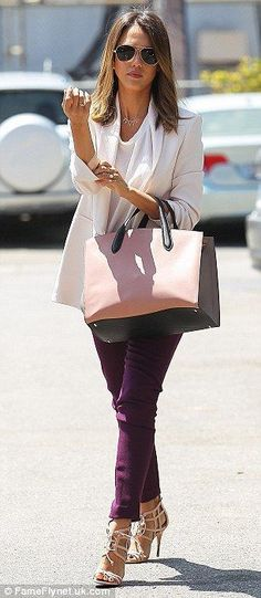 #officewear #streetstyle   Jessica Alba in a white long blazer paired with eggplant skinny jeans, and styled with Monique Lhuillier lace up nude sandals and a Smythson bi-color tote