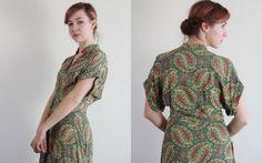 Antique 30s Dress  Paisley Print  Olive Maxi  Asian by VeraVague, $175.00