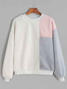To find out about the Ivory Contrast Dropped Shoulder Seam Fuzzy Sweatshirt at SHEIN, part of our latest Sweatshirts ready to shop online today! Cool Outfits, Casual Outfits, Fashion Outfits, Love Clothing, Cool Hoodies, Kawaii Clothes, Kurta Designs, Cute Tops, Sweater Hoodie