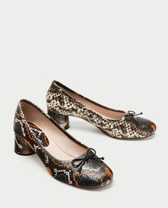 PRINTED LEATHER HIGH HEEL BALLERINAS-Leather-SHOES-WOMAN   ZARA United States