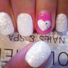 white glitter, pink, heart, rhinestones