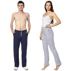 "Unisex California Fleece Slim Fit Pant - 100% California Fleece Cotton (Heather Grey contains 10% Polyester) - Fabric weight 7.2 oz/sq. yard = 244 g/sq. meter (24 singles) - Approximately 33"" inseam (83.8cm) - Unisex sizing: women may prefer to order one size smaller - Superior screen printing results - Made in the USA. Blank.  A straight leg fitted pant designed with dual side pockets and a comfortable elastic waistband with a White Nylon elastic quickcord. Unlike typical synthetic ..."