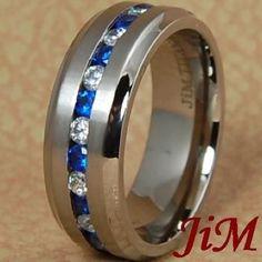 8MM Titanium Wedding Band Mens Ring Blue & White Diamonds Jewelry Hot Size 6-13 #JiM #Band