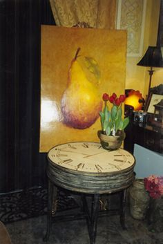 pear painting ,clock table and tulips...