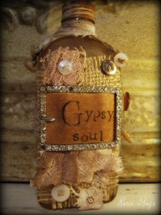 Altered Art Gypsy Soul bottle. So sweet and pretty!
