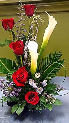 Calla lilies, roses, delphinium - My site Valentine Flower Arrangements, Funeral Floral Arrangements, Tropical Floral Arrangements, Large Flower Arrangements, Valentines Flowers, Flower Centerpieces, Flower Decorations, Wedding Centerpieces, Beautiful Flowers Wallpapers