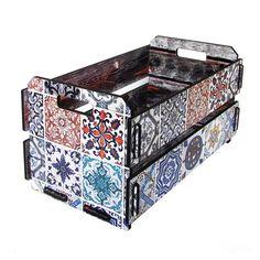 Caixote de Feira Pequeno Azulejo | Boutique de Luxo @ BoutiqueDeLuxo
