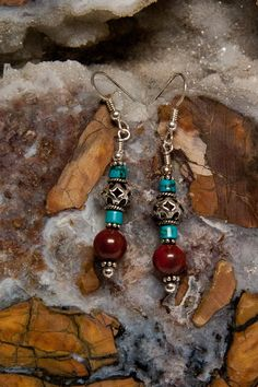 Jasper and Turquoise Sterling Silver Dangle Earrings by BaconsKeepers