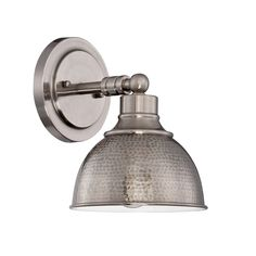 Timarron Antique Nickel One Light Wall Sconce With Hammered Metal Shade Jeremiah By Craftm