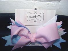 New Mud Pie Bow Hair Clip Blue Pink White Hair Bow #Baby #Gift #Deal