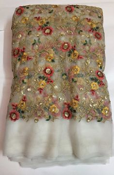 Embroidery on net kurta fabric Hand Embroidery Dress, Applique Embroidery Designs, Embroidery Fabric, Rajasthani Dress, Tambour Beading, Beaded Lace Fabric, Saree Blouse Patterns, Wedding Fabric, Indian Wedding Outfits