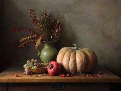 Still life with pumpkin Art Et Nature, Still Life Images, Still Life Fruit, Painting Still Life, Painted Pumpkins, Fruit Art, Still Life Photography, Light Painting, Autumn Inspiration