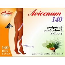 Support stockings AVICENUM 140 belong to their pressure into the 1st compression class.They have a reinforced heel. AVICENUM 140 reduces starting difficulties venous insufficiency. Moderate fatigue, heaviness and tension in the legs, swelling. Microcapsules Skintex continuously released extracts of grapefruit, lemon, peppermint and thyme.  140 DEN Lycra, composition 64% Nylon, 36% Lycra. The pressure at the ankle 15 to 21 mmHg. Buy on ACTIVtights.com
