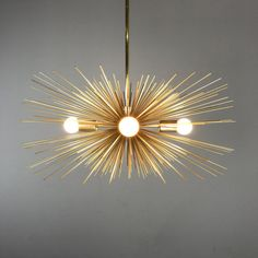 Gold Urchin Chandelier Lighting by DuttonBrown on Etsy Dining Room Lighting, Chandelier Lighting, Extension Rod, Gold Home Decor, Mid Century Modern Lighting, Modern Light Fixtures, Incandescent Bulbs, Light Table, Candelabra