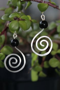 wire wrapped jewelry handmade, silver earrings, spiral earrings, black earrings on Etsy, $14.00