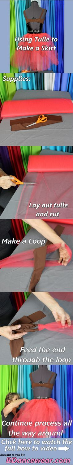 Using a tulle to make a skirt for a dance costume.