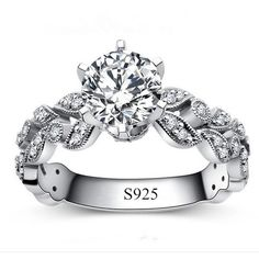 Moda Gümüş Yüzükler kadınlar için Beyaz Altın Kaplama Takı CZ Elmas damgalı 925 kadın yüzük anillos alyans bague L108
